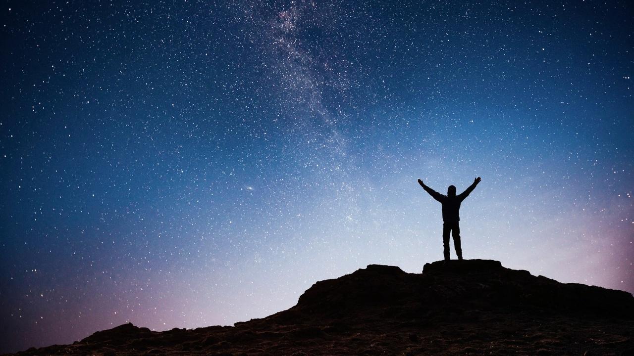 Lvmonuvdqrux5akzvtx1 silhouette young man background milky way galaxy bright star dark sky tone 1