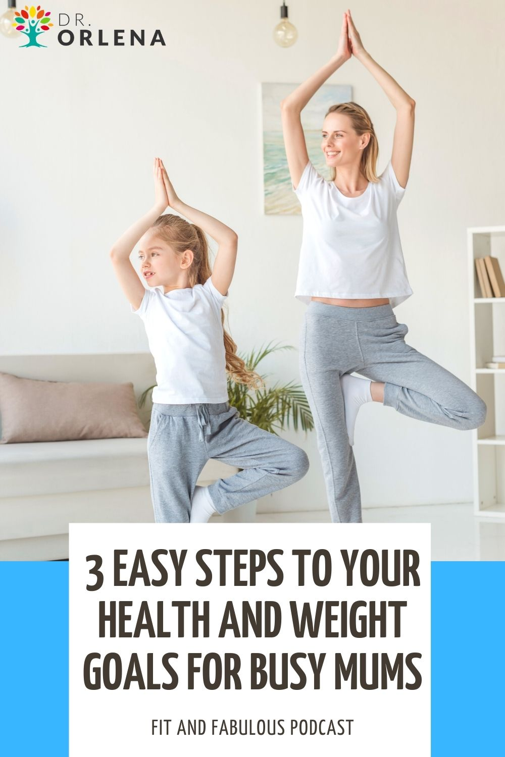 A woman doing yoga poses with her daughter in their living room #weightloss #momweightloss #momhealth #loseweight #healthyliving #wellness #exercise