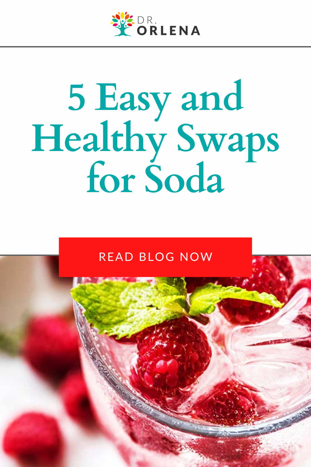 A glass of fizzy water topped with raspberries #sugarfree #sodaswaps