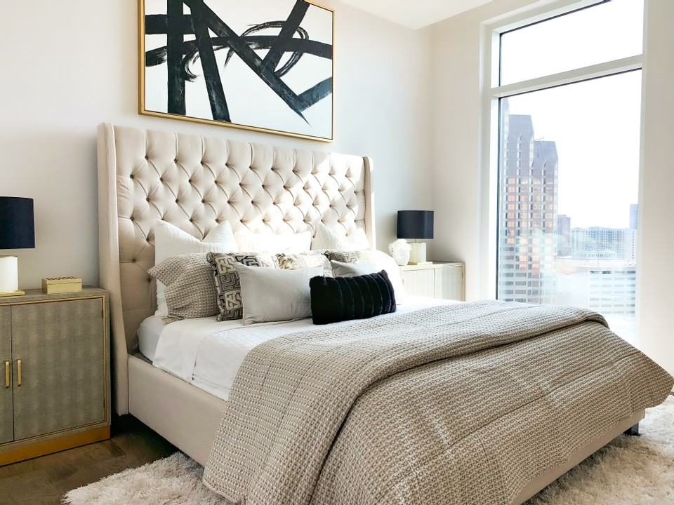 Master bedroom that has been staged by an accredited home stager