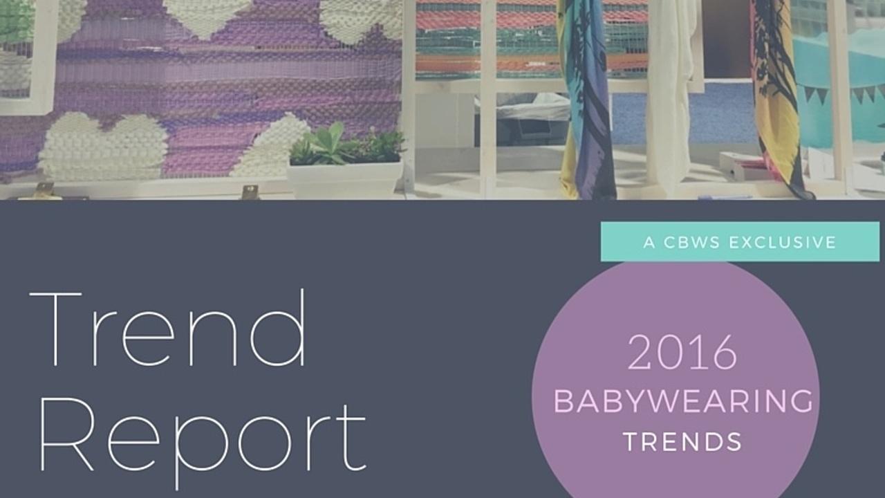 text:Trend report; 2016 babywearing trends