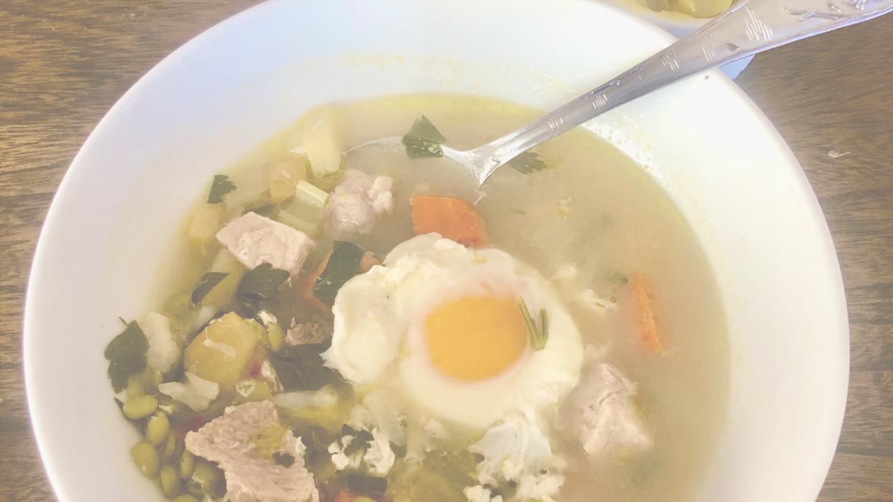 Elk Bone Broth with Split Peas, Veggies [Recipe DF GF] Breakfast Soup
