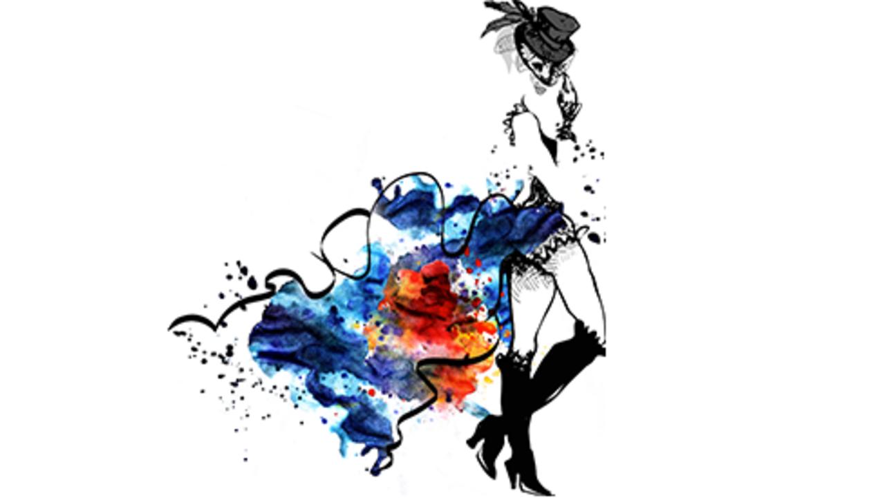 cabaret dancer. Watercolor girl.black and white image
