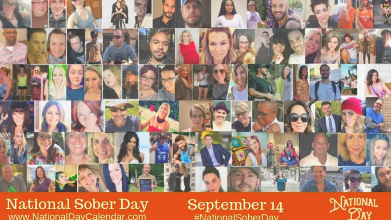 Sober people in a collage. National Calendar Day Image for National Sober Day, September 14th of every year.