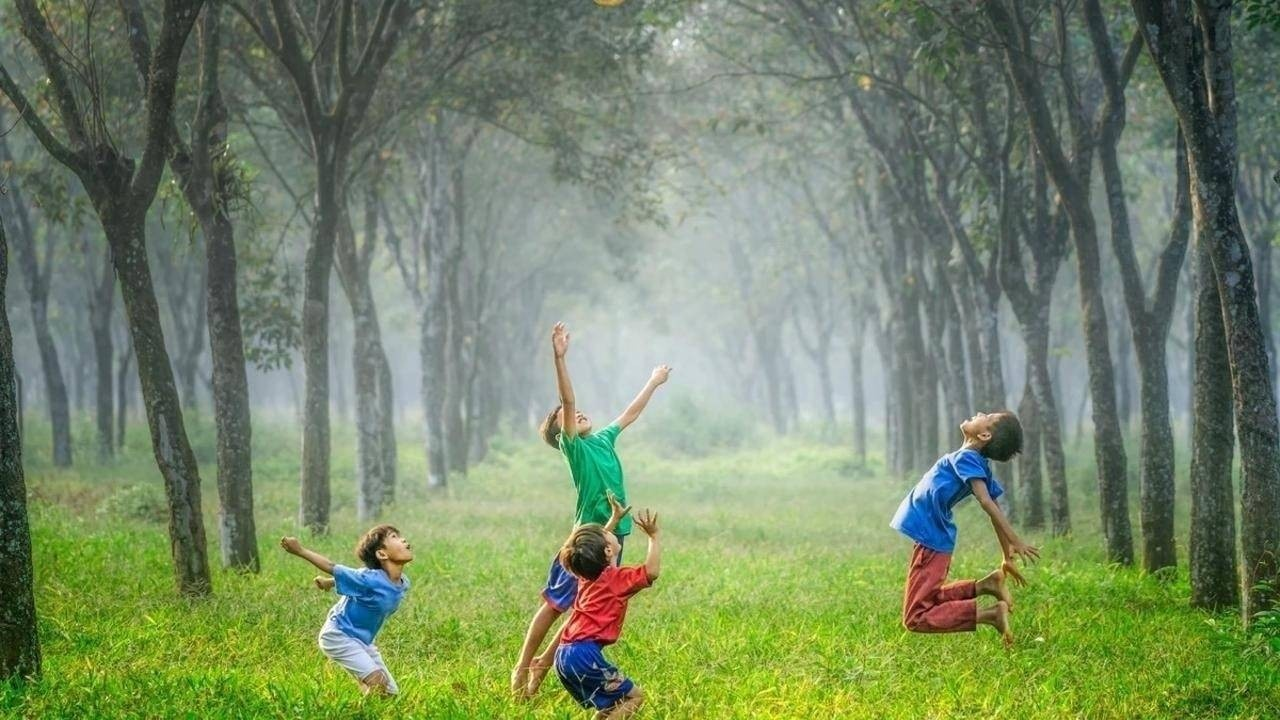 Children jumping in forrest