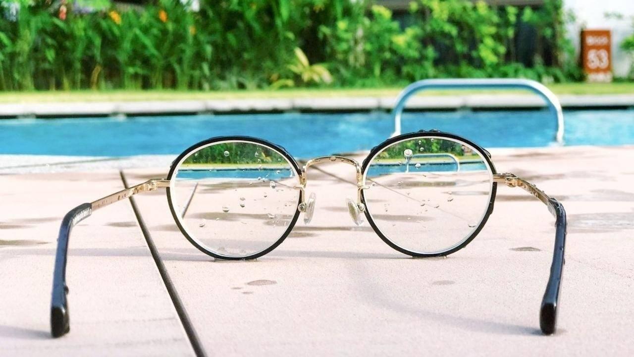 Set of glasses on poolside