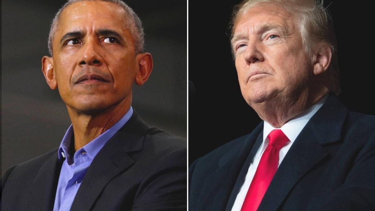 Barack Obama next to Donald Trump