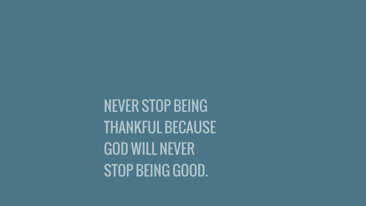 NEVER STOP BEING THANKFUL