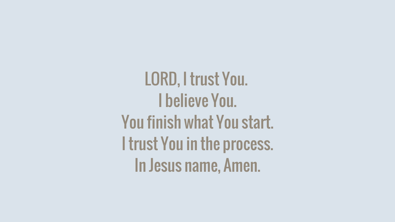 LORD, I trust You.