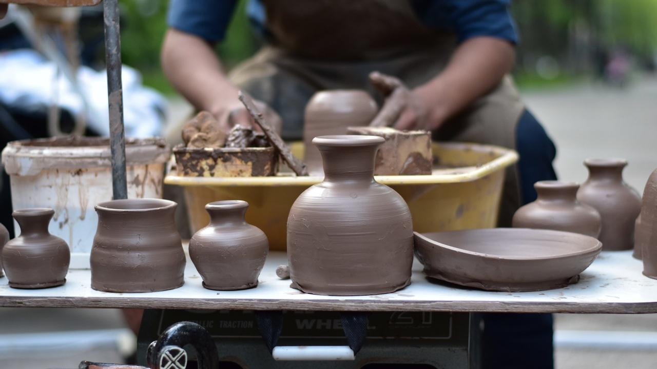 Potter making ceramics.
