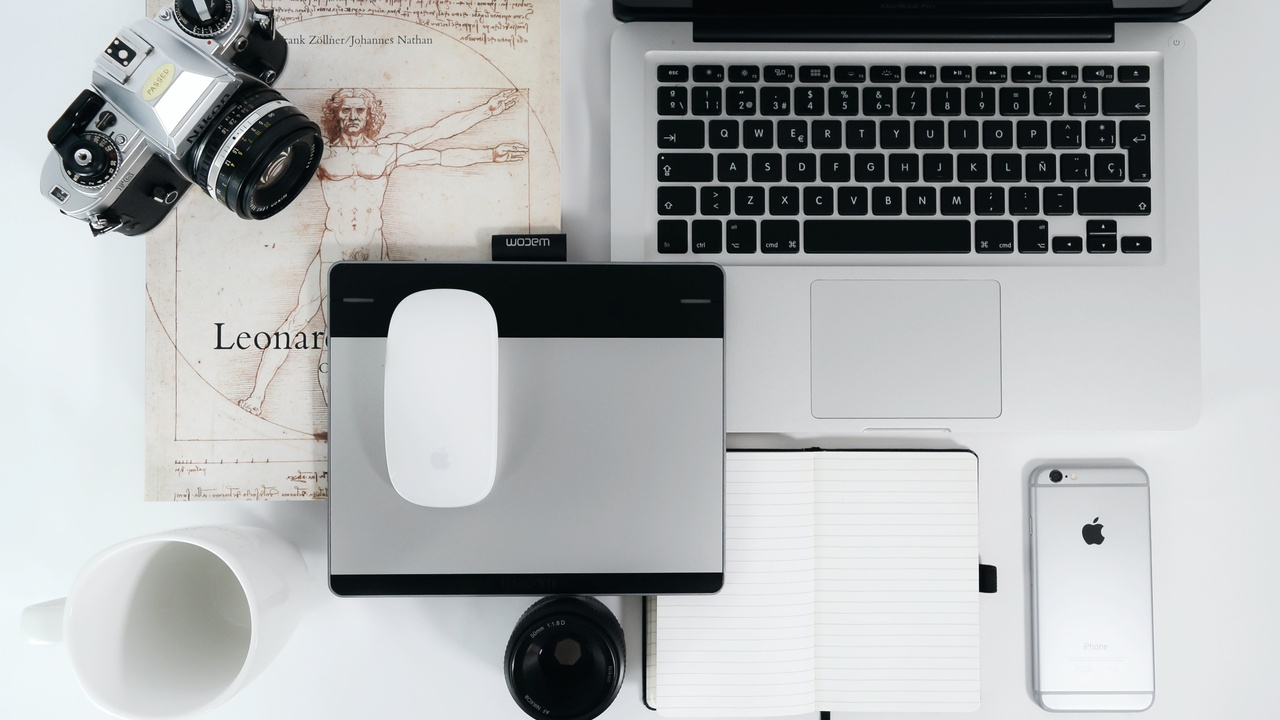 camera and computer and phone