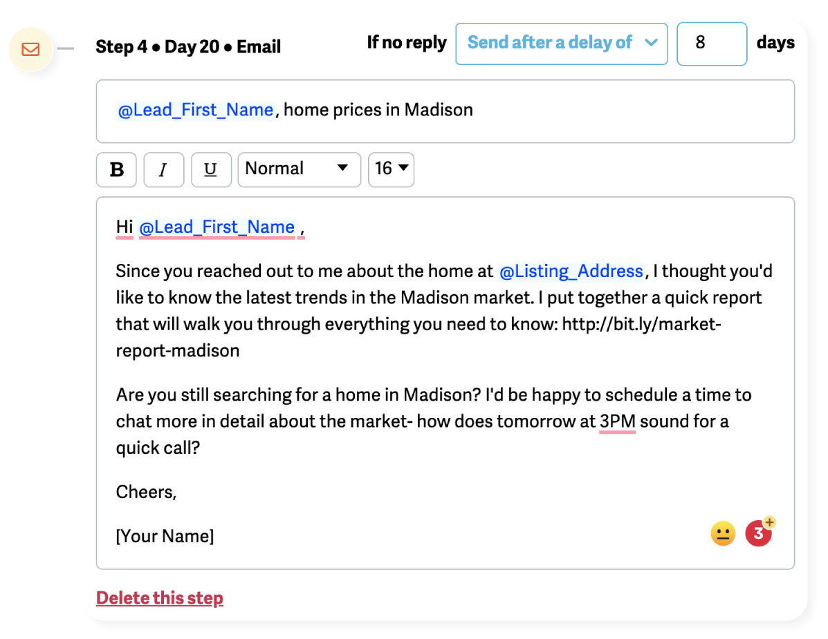 example of a follow-up email that shows a market update