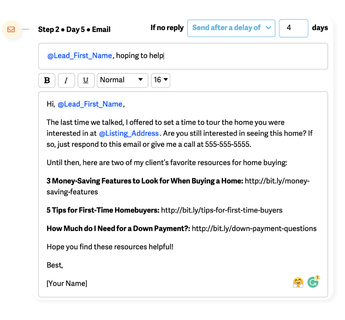 example of a follow up email that incorporates blog posts
