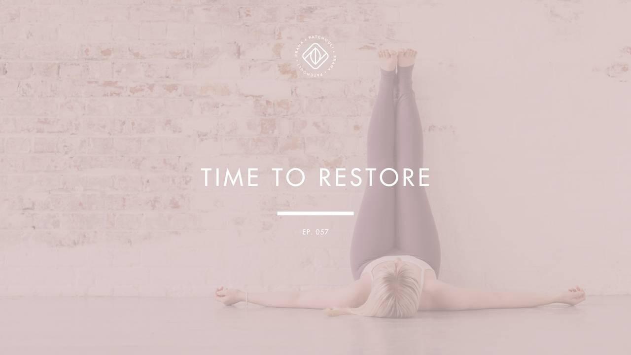 restorative yoga pose legs up the wall