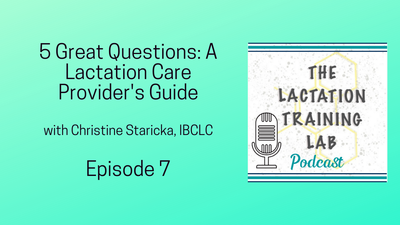 Graphic Image for Episode 7 of The Lactation Training Lab Podcast 5 Great Questions A Lactation Care Provider's Guide