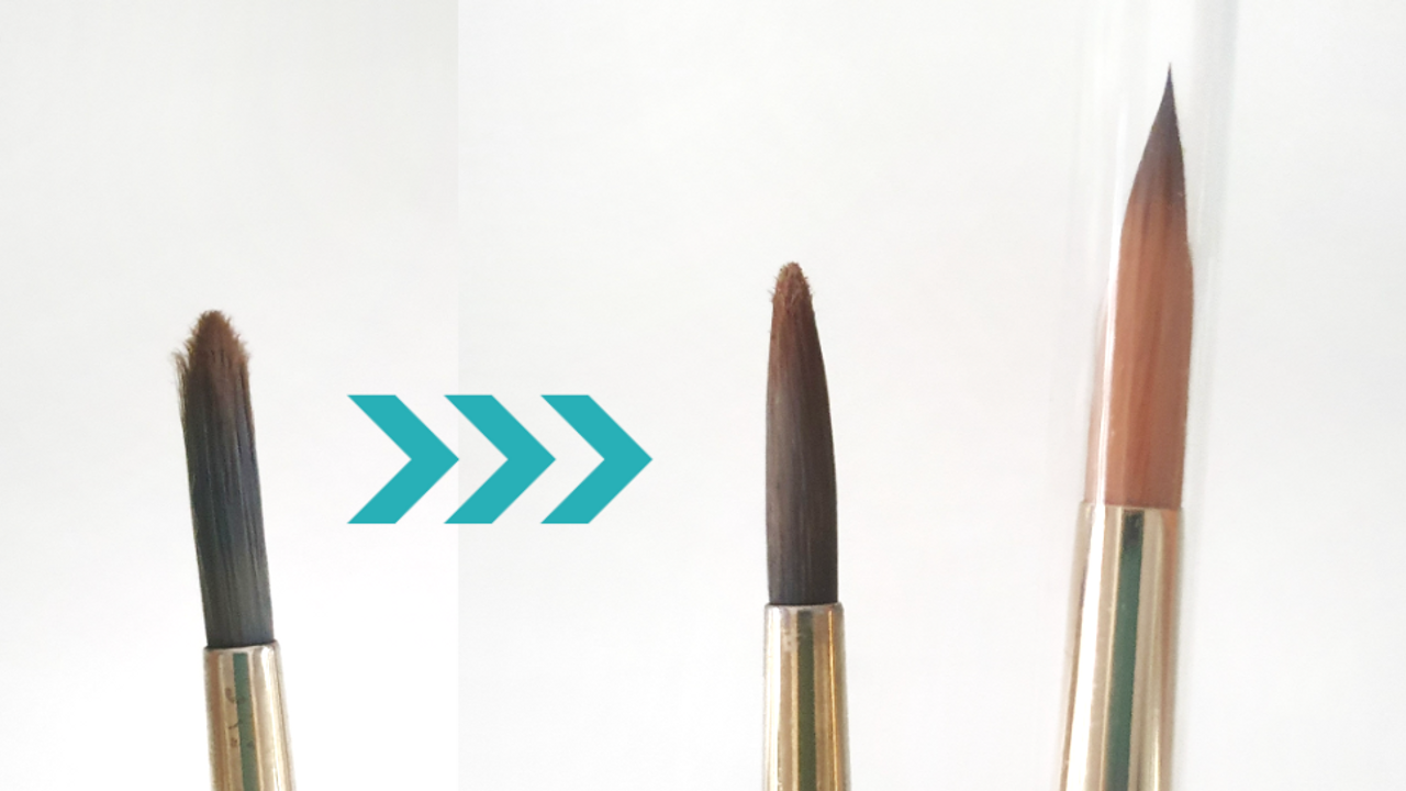 Before and after of cleaned watercolour brush