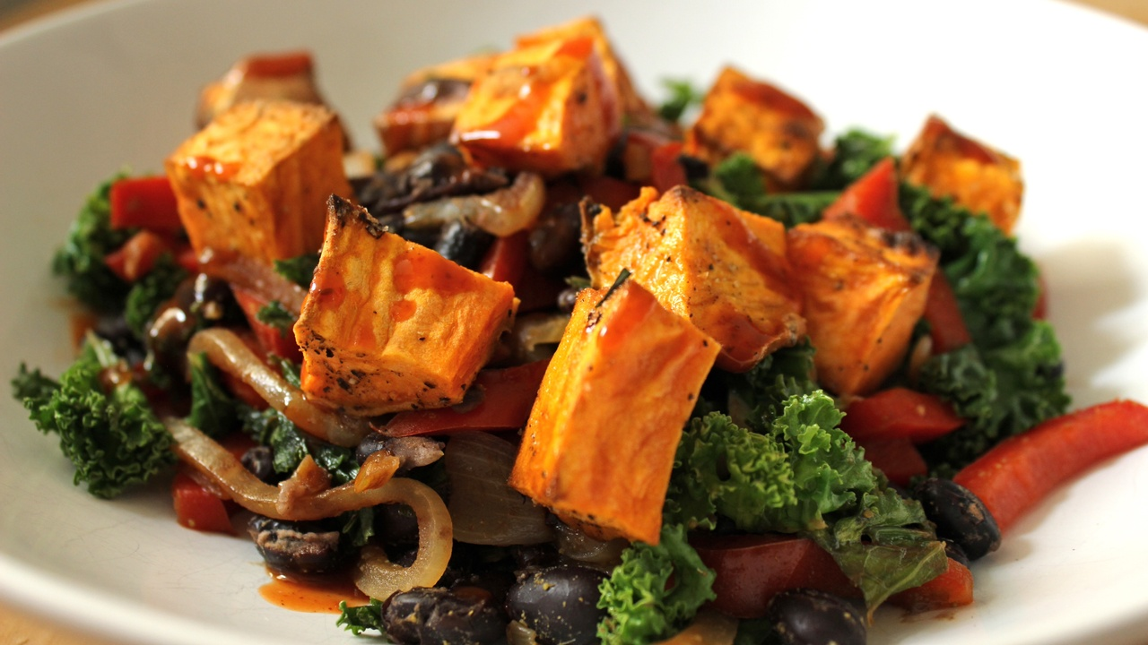 Southwestern Kale and Black Bean Bowl with Sweet Potatoes