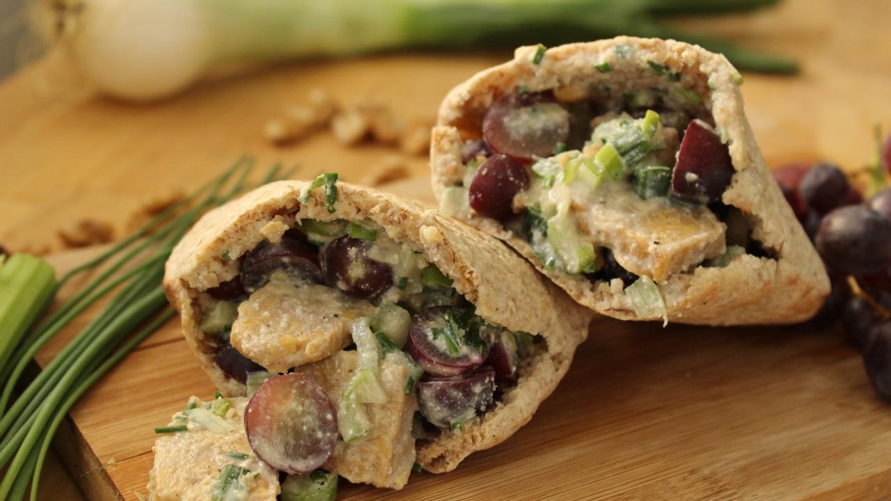 Tempeh No-Chicken Salad Stuffed Pitas