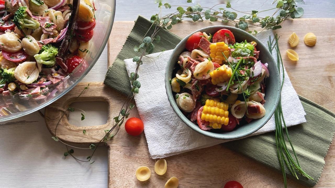 Vegan Bacon Pasta Salad with Summer Corn