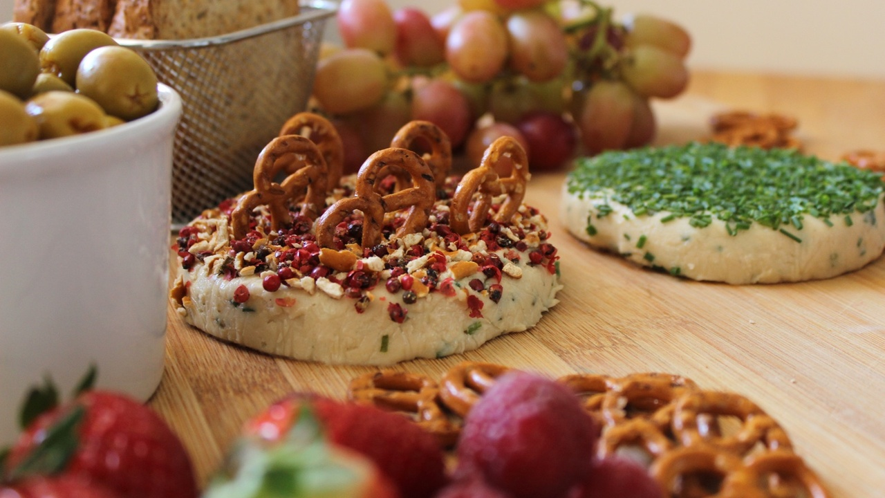 Creamy Cashew and Chive Cheese for a Festive Vegan Cheese Platter