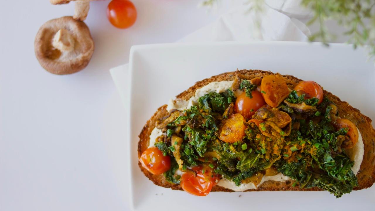 Hummus, Kale, Shiitake and Turmeric Toast