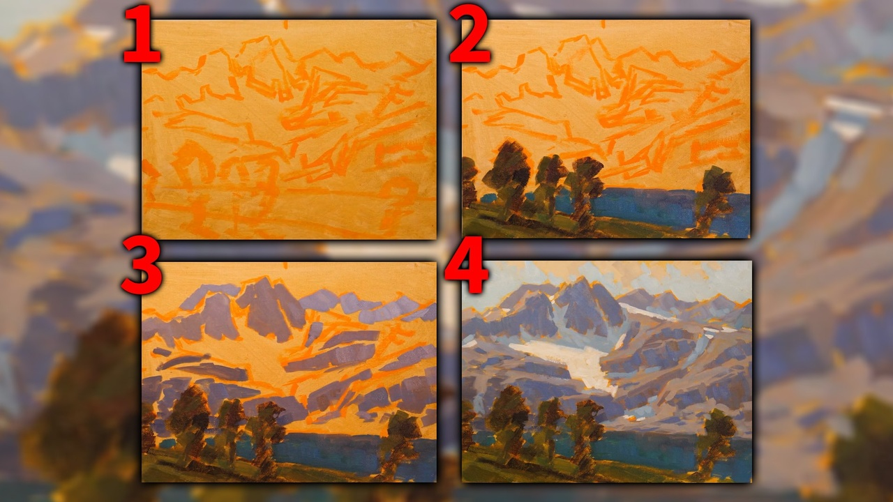 How to paint mountains step by step with Edgar Payne Acrylic Painting Tutorial Step by Step