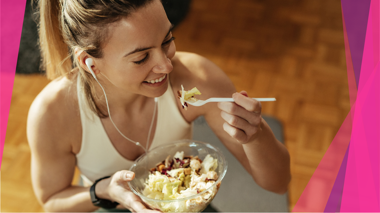 Active woman eating good food before exercise