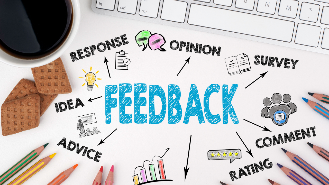 various forms of customer feedback written on desktop as ways to build momentum in business