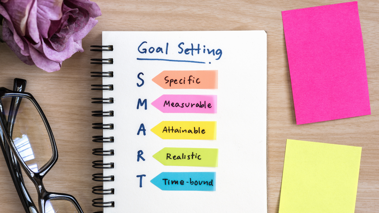 a pad with the description of smart goals for building business momentum
