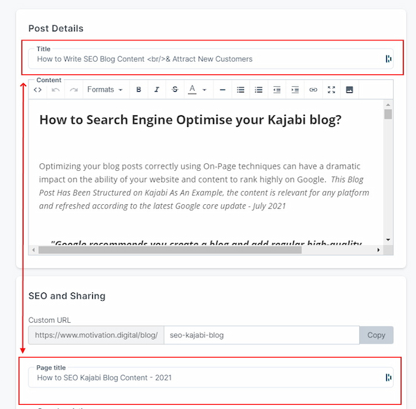 Kajabi Blog Editor Titles
