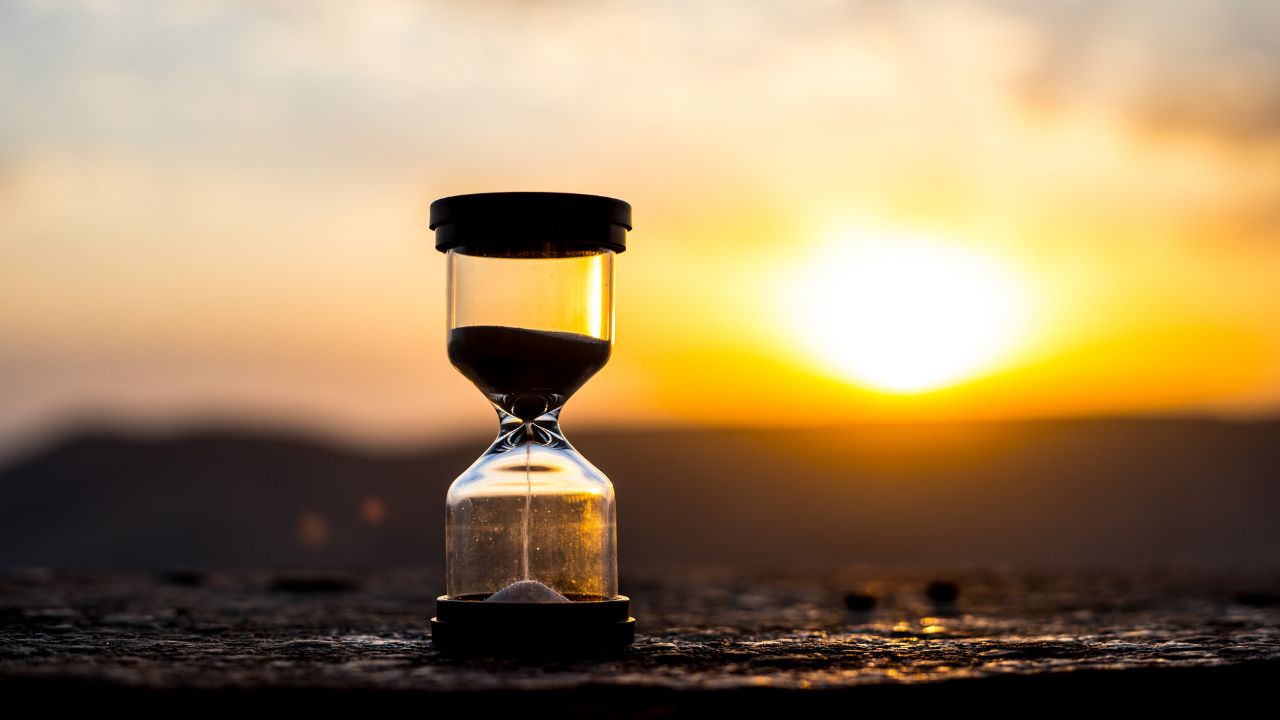 hourglass at sunset