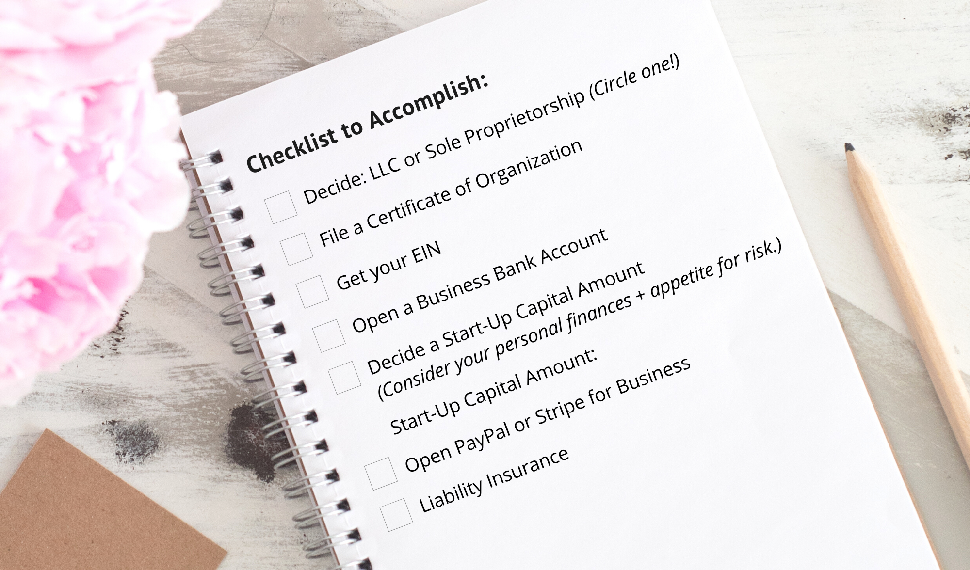 Image of a checklist for new businesses