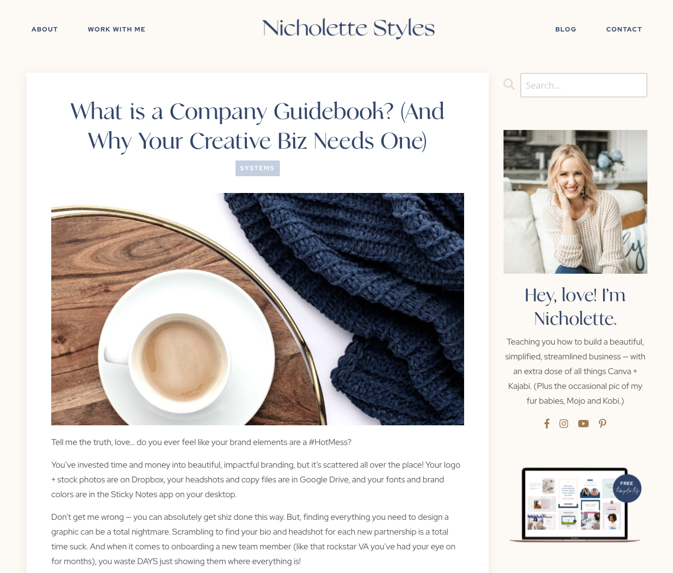 Screenshot of Nicholette Styles blog post 'What is a company guidebook?'