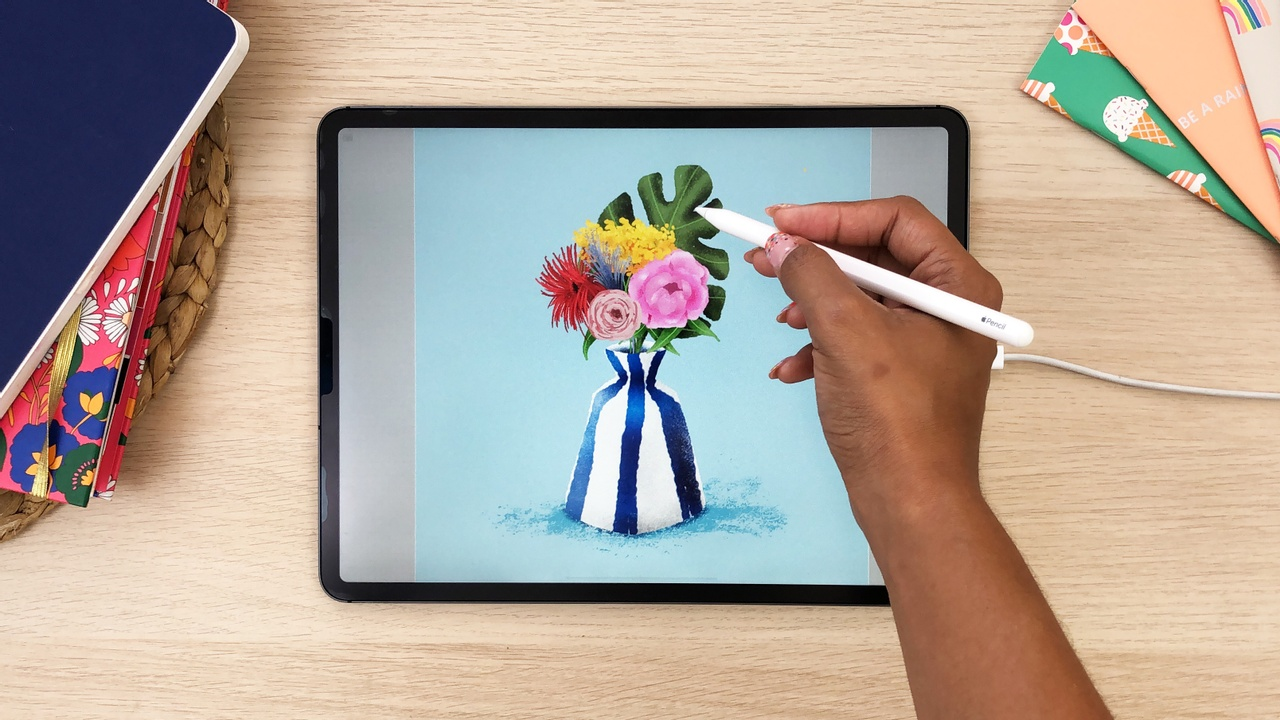 How to draw a floral vase in Procreate