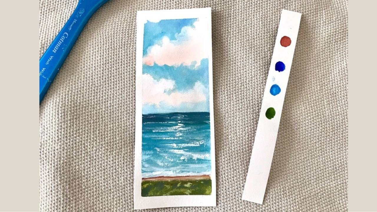 How to Create a Calming Seascape Bookmark