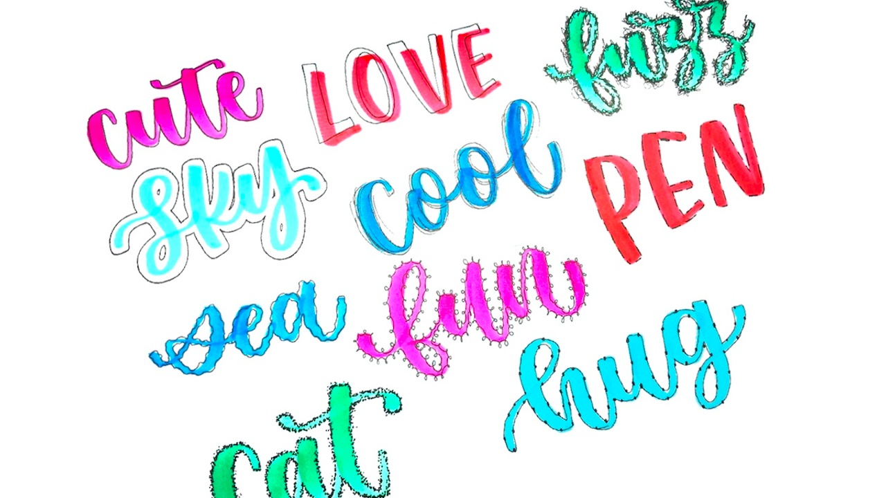 How to outline lettering in different ways