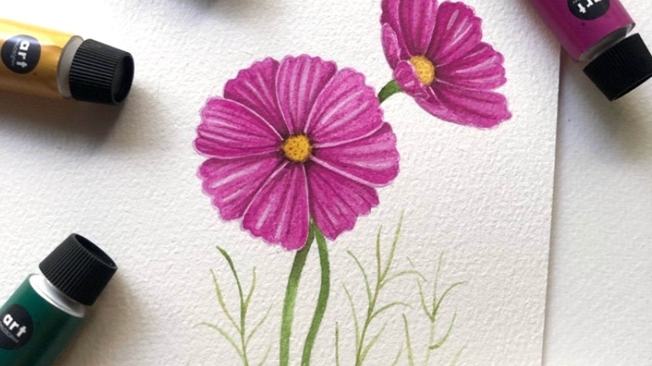 How to paint a cosmos flower