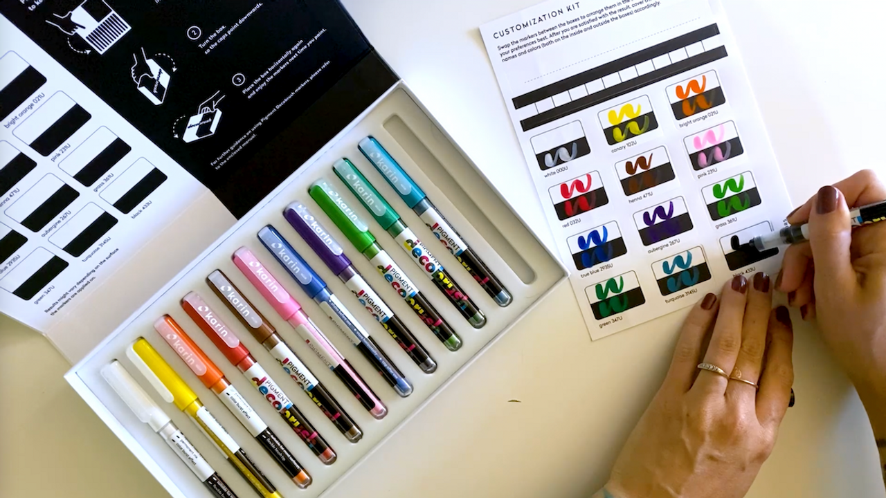 Karin brush pen acrylic marker master set swatches