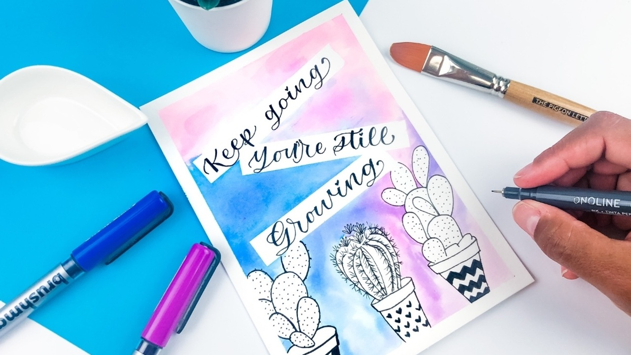 How to make a cactus watercolor print