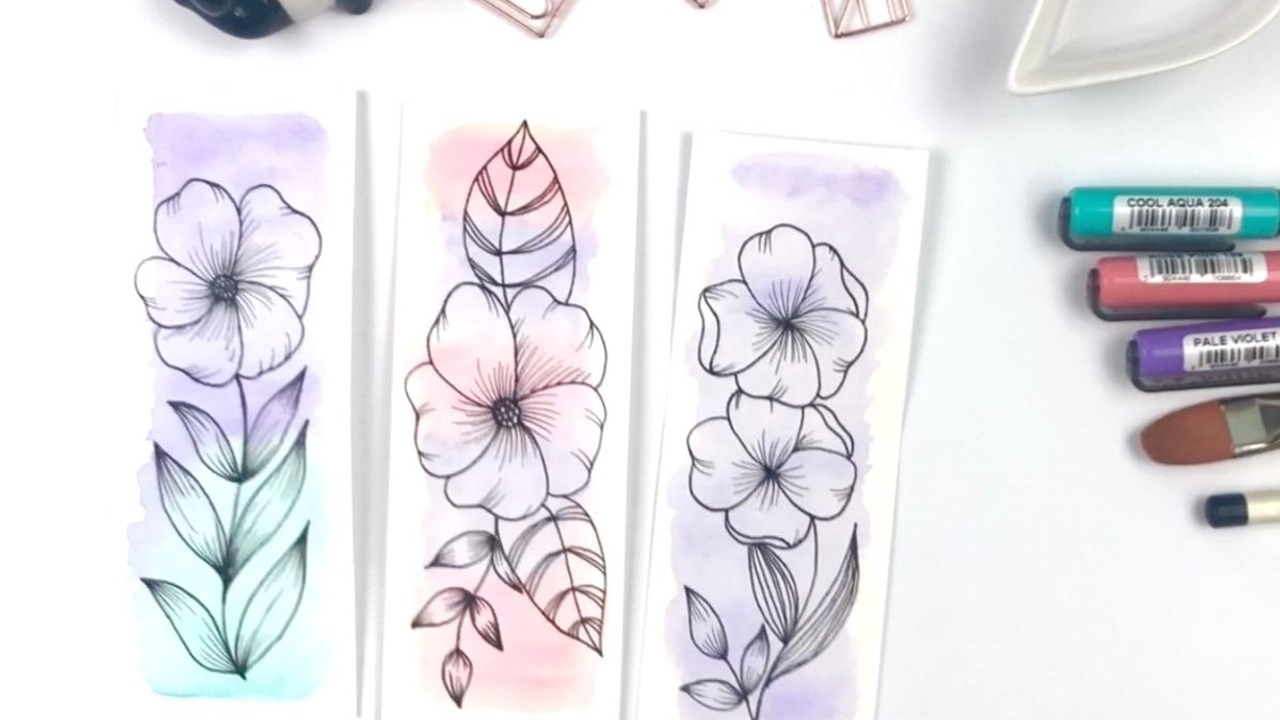 diy botanical watercolor bookmark