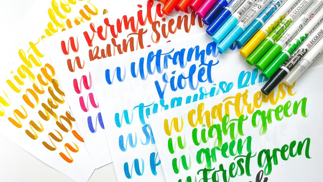 ecoline brush pen swatches