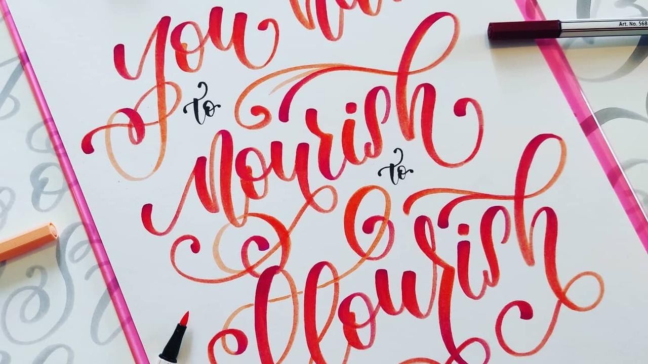 Lettering artwork using brush pens