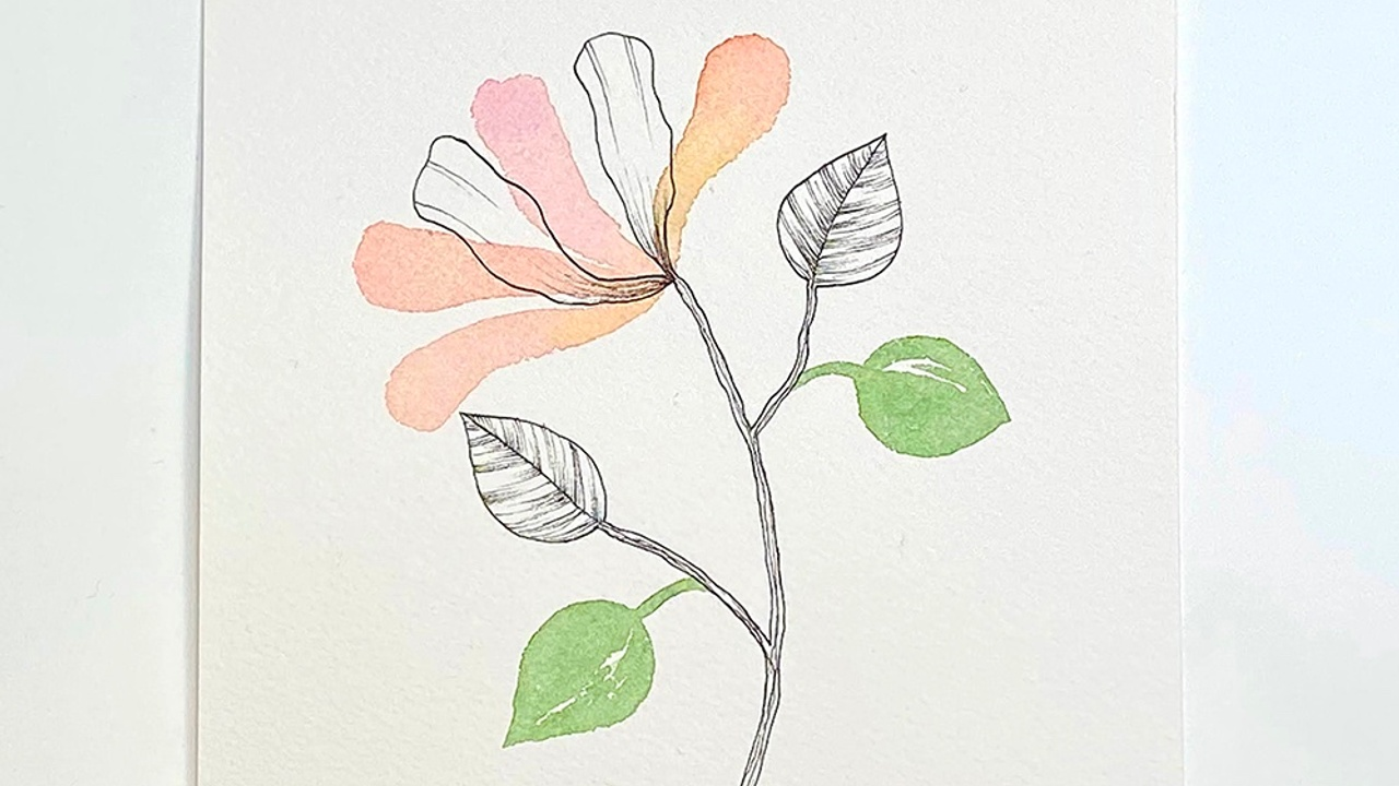 How to make a floral ink and watercolor illustration