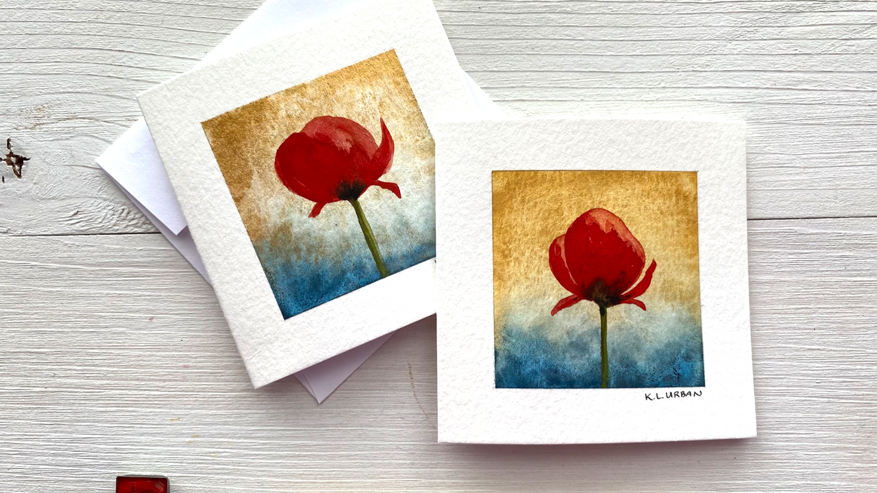 How to make a watercolor poppy card