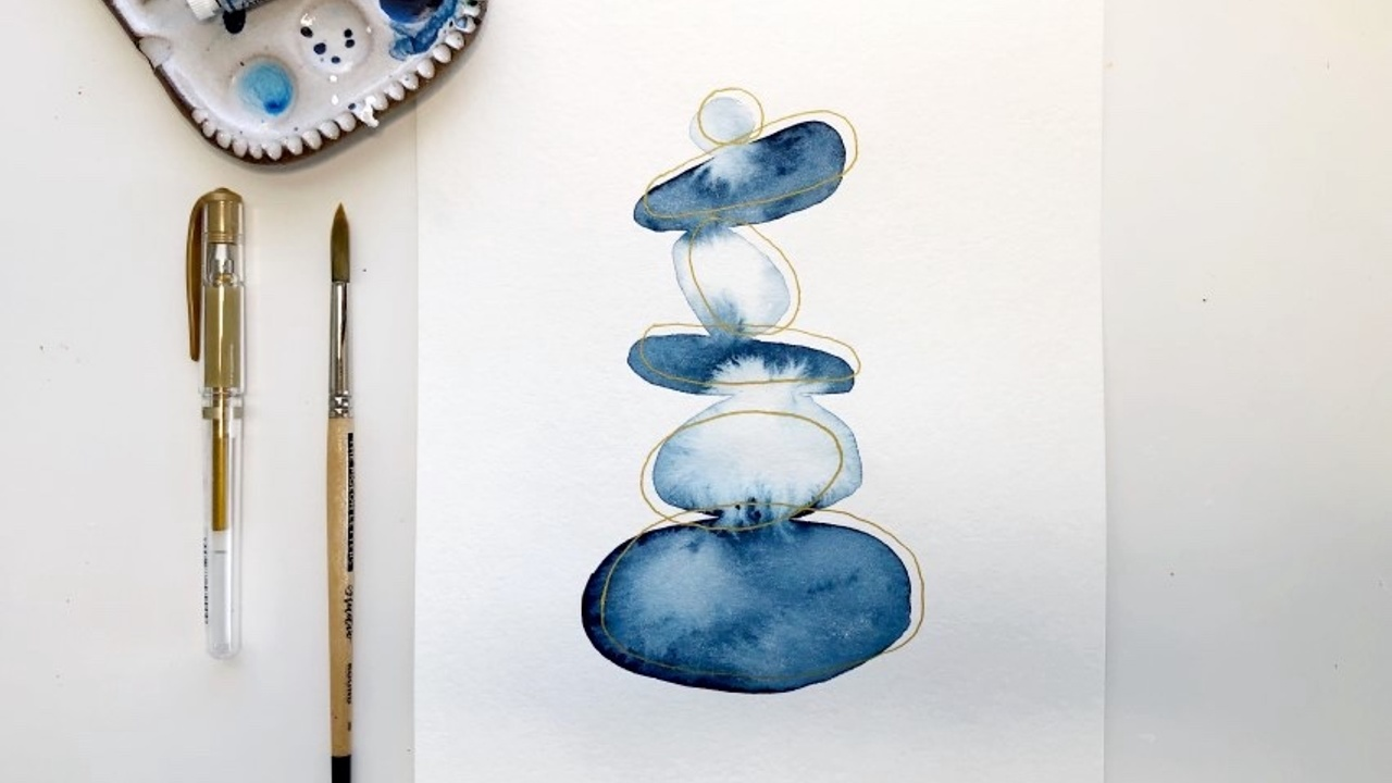 How to paint an abstract rock stack in watercolor