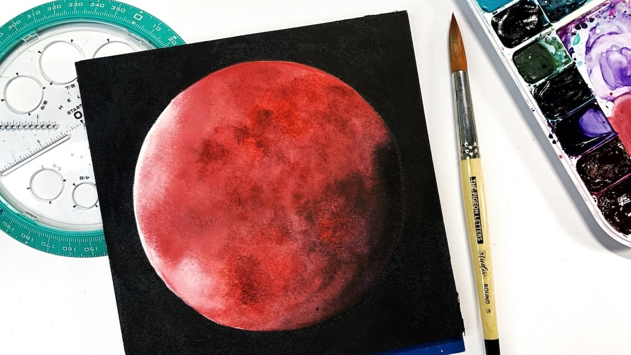 Painting a watercolor blood moon