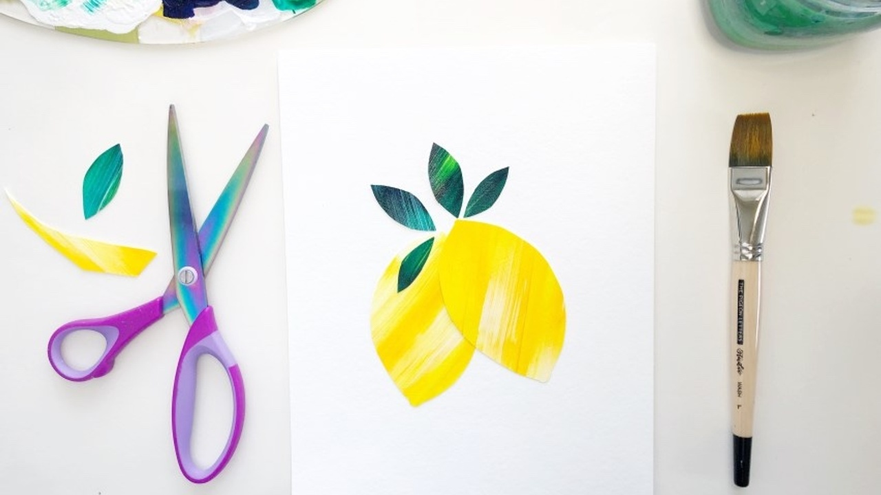 How to create an abstract acrylic lemon collage