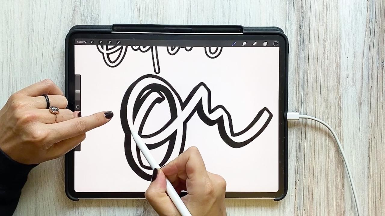 Outline Lettering in Procreate