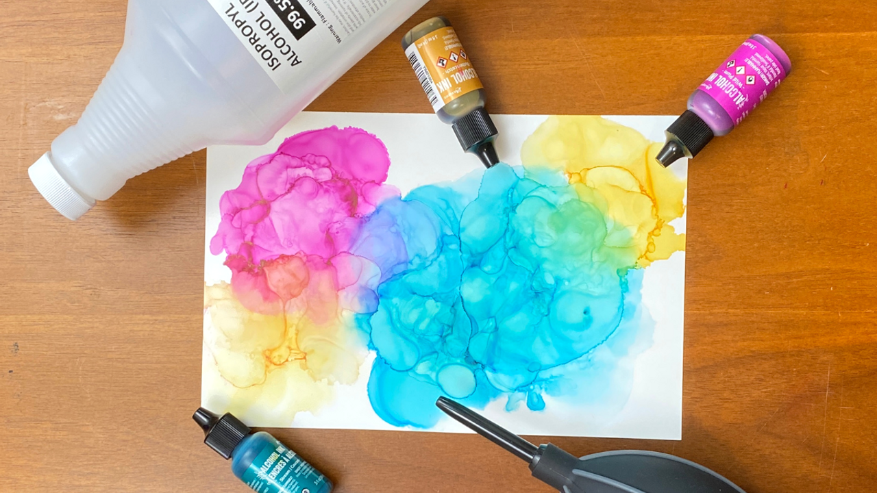 How to paint using alcohol ink
