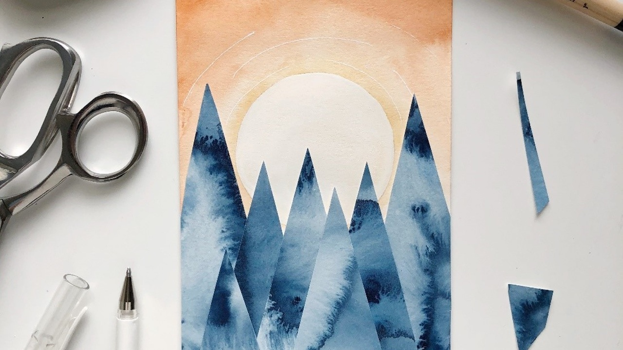 How to make a watercolor landscape collage